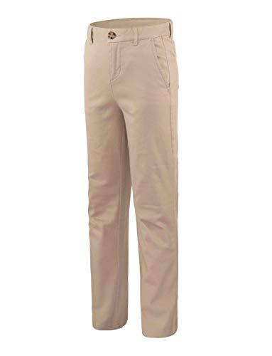 Bienzoe Niño Escolares Algodón Cintura Ajustable Delgado Pantalones Caqui 10