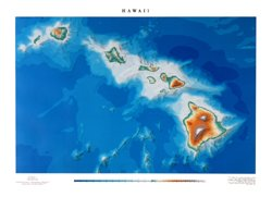 Hawai'i Topographic Wall Map by Raven Maps, Laminated Print