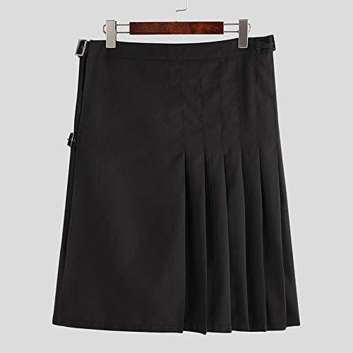 Hermosa Kilt Falda Escocesa Faldas Escocesas para Hombre Color Sólido Vintage Streetwear Kilt Pantalones Retro Faldas Pl