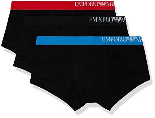 Emporio Armani Underwear Herren Multipack-B-Side Logo 3-Pack Trunk Herrenslip, Schwarz Nero 50620, Large (Herstellergröße:L)