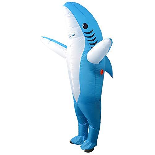 Firlar Aufblasbares Haifischkostüm, Haifisch-Kostüm, Kostüm für Geburtstag, Halloween, Cosplay, Party, Weihnachten (Grau, 190 cm), blau, Large