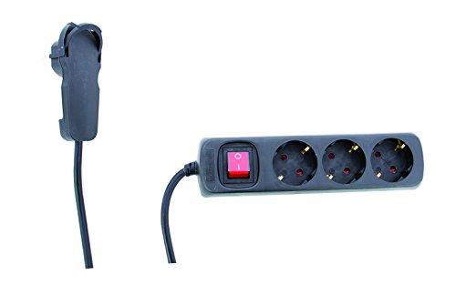 STECKDOSENLEISTE REV_0012326514   3 fach Steckdose ǀ Mehrfachsteckdose mit Schalter und REV-Flachstecker   Kindersicherung   2 m Zuleitung   für den Innenbereich   Farbe: schwarz
