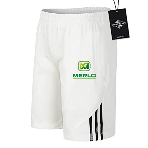 JasMINBusse de Los Hombres Sudor Corto Verano MER-LO Pantalones Cortos Algodón Corto Baloncesto Trotar Traje Colocar/Blanco/M