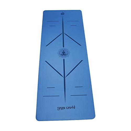 Yoga World Alignment - Esterilla de yoga antideslizante, parte inferior de goma TPE – grueso y duradero para pilates y entrenamiento en casa – Cojín ecológico biodegradable – 182,88 x 66 cm (azul)