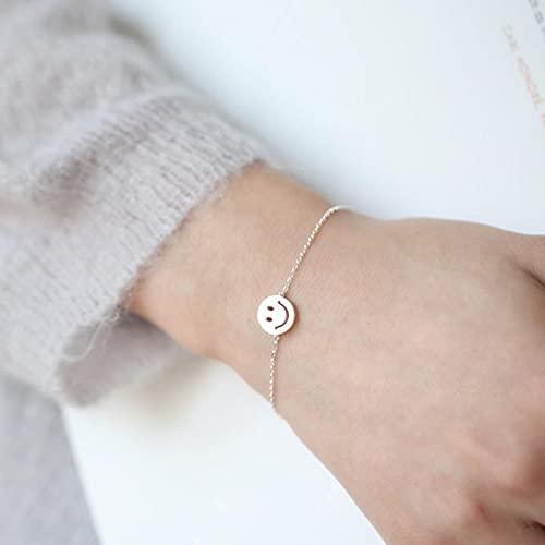 DJMJHG Pulseras y brazaletes Bonitos de Moda Coreana de Plata de Ley 925 para Mujer Pareja geométrica Hecha a Mano joyería de Cara Sonriente