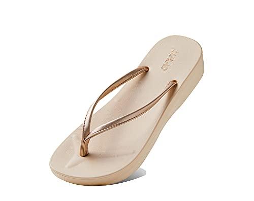SY-Home Leichte Tanga-Hausschuhe Am Strandpool, Offene Sandalen Für Damen Im Sommer Modische Keilsandalen,Beige,EU35 UK3 US5