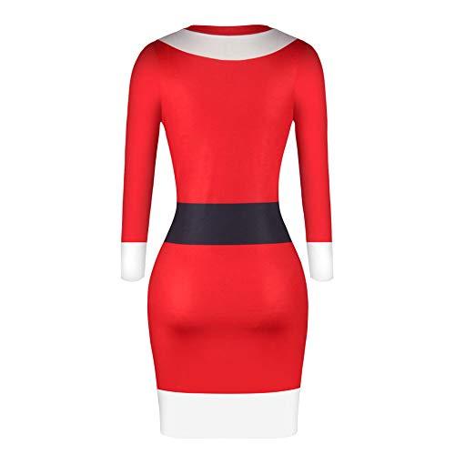 Christmas Dress for Women FEDULK Santa Claus Print Long Sleeve Bodycon Ladies Midi Dress (Red1, US Size L = Tag XL)