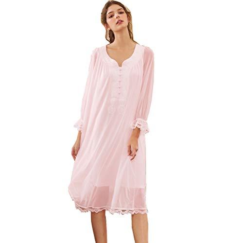 Damen Kleid Langarm Nachthemd Spitze Vintage Viktorianischen Stil Nachthemd Sweet Loose Comfort Modal Langen Rock Sleepshirt