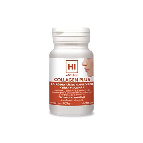 HI - Hi Antiage - Collagen Plus - Complemento Alimenticio con Colágeno, Ácido Hialurónico y Vitaminas para la Piel - 30 Cápsulas - Protección del Cabello, Piel, Huesos y Articulaciones