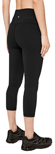 Lululemon Wunder Under Crop High Rise Luon Yoga Pants, Black Luon, Size 6.0