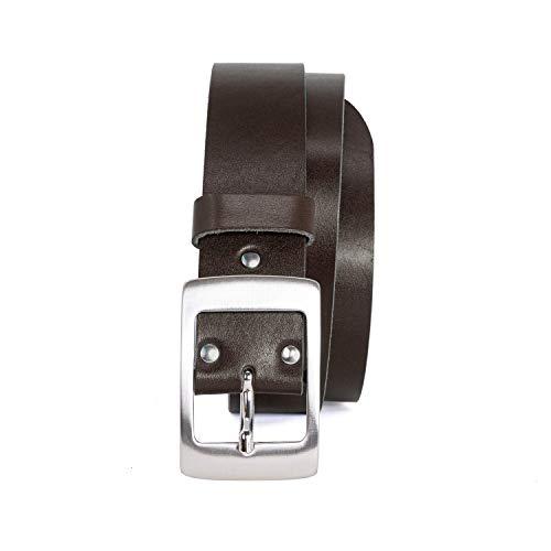 Ledergürtel Damen in schwarz, braun, blau und cognac in 4cm Breite aus einem dicken Stück Leder - Vollrindledergürtel - Damengürtel, Braun, 105 cm Bundweite = 120 cm Gesamtlänge