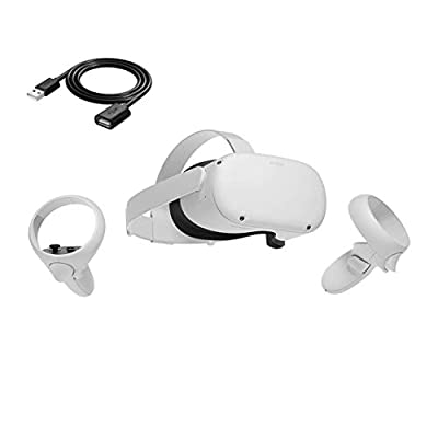 Oculus Quest 2 - Advanced All-in-One Virtual Reality Gaming Headset - White - 64GB - TWE 6ft USB Extension Cord