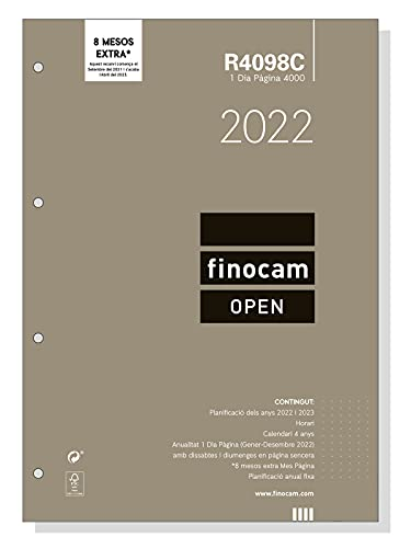 Finocam – Annual replacement 2022 1 day page, from January 2022 to December 2022 (12 months) 4000 – 210 x 297 mm Open Catalan