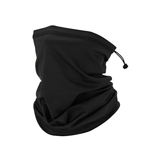 TAGLUMO Neck Gaiter Face Mask Sport Face Cover Scarf with Drawstring for Motorcycling, Fish Mask(1 Pack Black, X-Large)