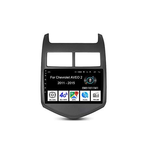 Autoradio Mit Navi Car Stereo Radio Coche Pantalla Tactil Coche GPS Navegación para Chevrolet Aveo 2 2011-2015 4 Cores 2G+32G Conecta Y Reproduce Cámara De Respaldo Estéreo De Coche Player