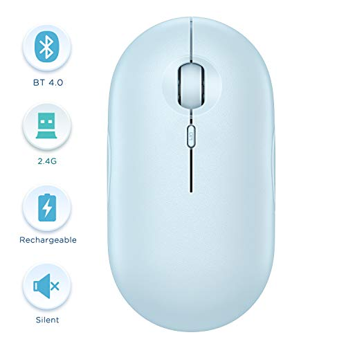 Bluetooth Mouse - Wireless Dual Mode Mouse (Bluetooth 4.0 + USB), Type C Rechargeable Slim Silent Mice for iPad, Mac, Chromebook, iPhone, Android, Laptop, PC and Computer - Baby Blue