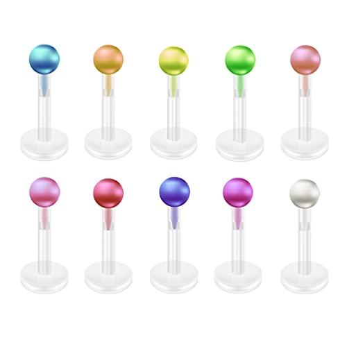 Holibanna 10 Piezas de Tachuelas de Labio de Acrílico Anillos de Labio Piercing de Nariz Piercing Tachuelas Piercing de Cuerpo Joyería para Mujeres Niñas Hombres