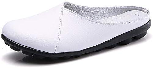 Chaussures Plates Femme,vintage Original Fermé Toe Ronde Occasionnels Portant Des Chaussures Demi-Doux Confortable En Cuir Naturel flaneuses En Caoutchouc Souple Chaussures Chaussures Bateau Dames
