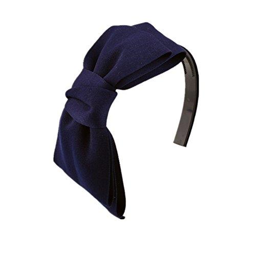 Kentop Bowknot Bandeau pour Cheveux, Coton, Bleu foncé, 13 cm