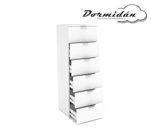 Dormidán- Sinfonier 6 cajones guías metálicas, cómoda Dormitorio, Altura 117cm. (Blanco)