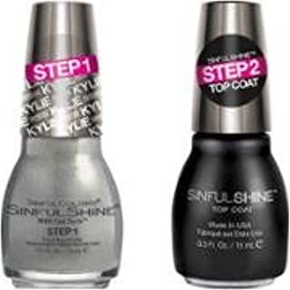 Sinful Shine Kylie Jenner King Kylie Collection Nail Polish Slay Grey Bundle with Top Coat, 0.5 Fl Oz Each Bottle