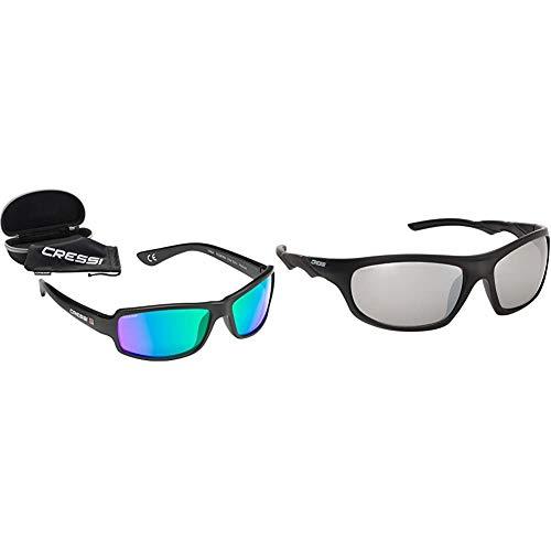Cressi Ninja Floating - Gafas Flotantes Polarizadas para Deportes con una protección 100% UV Adultos Unisex, Negro/Lentes Verde Espejadas + Oahu Gafas de Sol, Negro/Lentes Plata