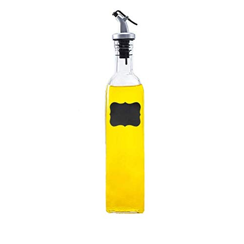 Tiener Oil and Vinegar Cruet Glass Bottles with Dispensers 500 ml Oil and Vinegar Dispenser Set (1) with sticker