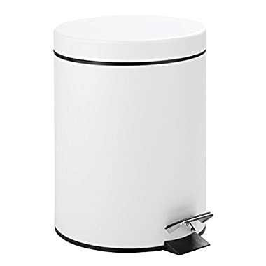 mDesign 5 Liter Round Small Steel Step Trash Can Wastebasket, Garbage Container Bin for Bathroom, Powder Room, Bedroom, Kitchen, Craft Room, Office � Removable Liner Bucket, Matte White