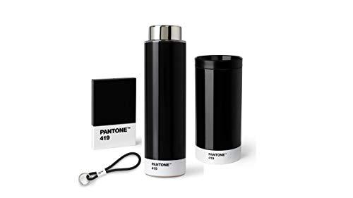 Pantone Outdoor-Set schwarz, aus To Go Cup, Tritan Trinkflasche, Schlüsselband Keychain Short und Visitenkartenhalter, Black 419, für unterwegs