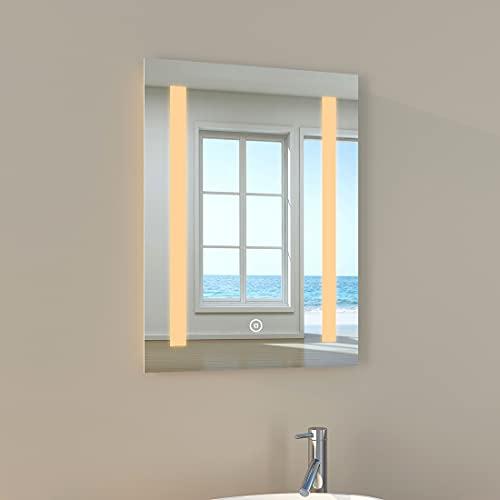 EMKE Wandspiegel Badspiegel 45x60cm, LED Badezimmerspiegel, Warmweißes Licht 3000K Berührbar und beschlagfrei, Modernes Design