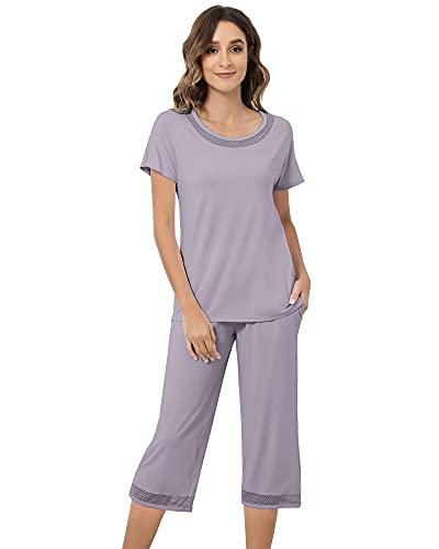 NACHILA Womens Bamboo Pajamas Short Sleeve Sleepwear Top Capri Pants Soft Pjs Lounge Set with Pockets S-XL