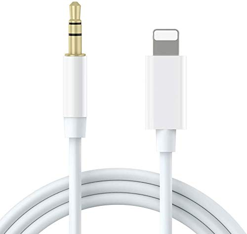 [Apple MFi Certified] iPhone Aux Cord for Car, Lightning to 3.5mm Aux Cable Compatible with iPhone 11/11 Pro/XS/XR/X 8 7 6/iPad/iPod for Car/Home Stereo/Headphone/Speaker(3.3FT, White)