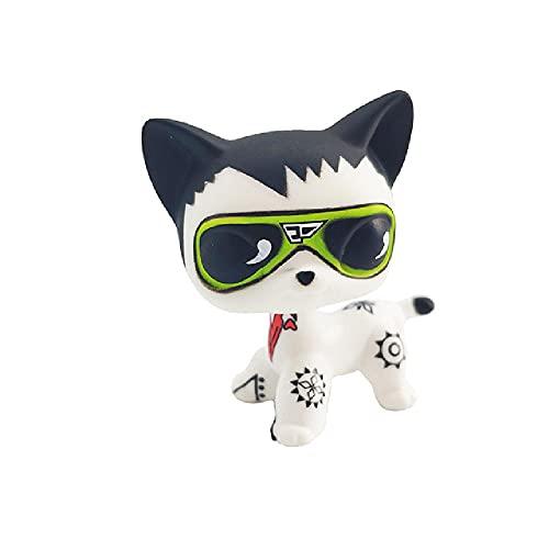 TGBVRare Lps Pet Shop Toy Spaniel Pink Dog Black Short Hair Colección de Gatos Acción de pie Regalo para niños