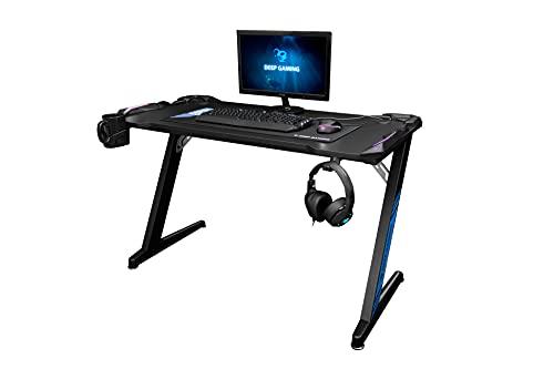 CoolBox DeepMaster II – Mesa gaming pc con iluminación LED RGB, Color Negro, Medidas 120 x 60 x...