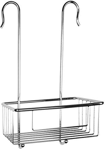 Cornat Einhänge-Duschkorb - Zum Einhängen an der Wandarmatur in Dusche & Badewanne - Extra hoher Korb & zwei integrierte Haken - Aus Messing - verchromt / Duschregal / Duschablage / T340201
