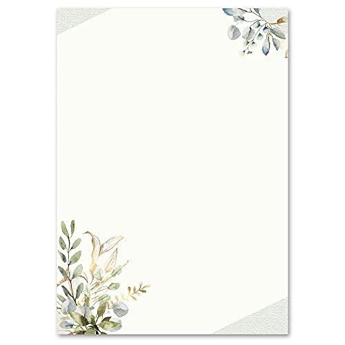 100 Blatt Briefpapier Blumen & Blüten GRÜNE ZWEIGE - DIN A6 Format - Paper-Media