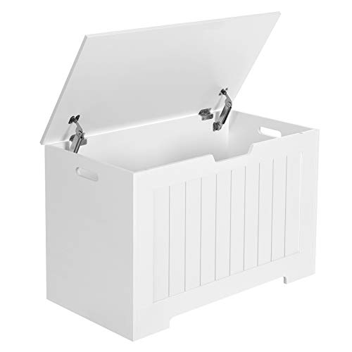 VASAGLE Lift-Top Storage Chest, Entryway Bench with 2 Safety Hinges, Wooden Toy Box, White ULHS11WT