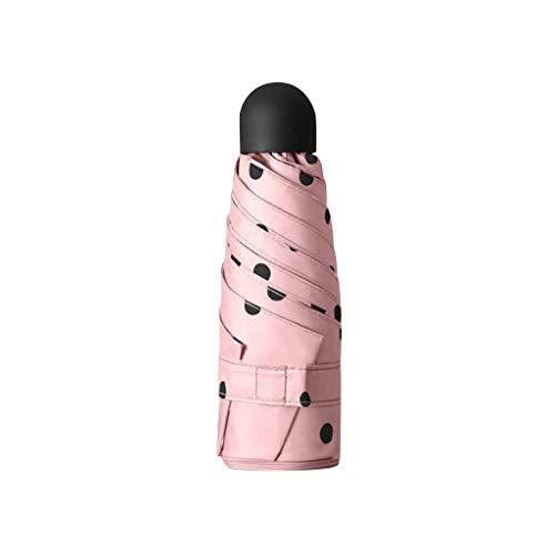 Mrjg Punto de Moda impresión Plana Parasol Parasol Plegable Sol Paraguas Mini Lluvia Paraguas (Color : Pink)