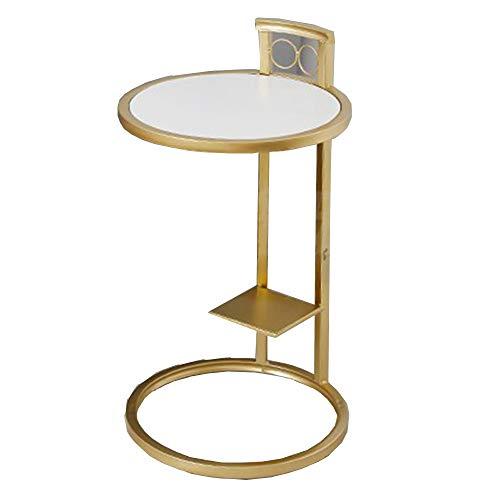 Zaixi Table Basse en métal - Table d'angle pour canapé Rond Moderne et Minimaliste dorée - 68 * 40cm Forte capacité portante (Couleur : A)
