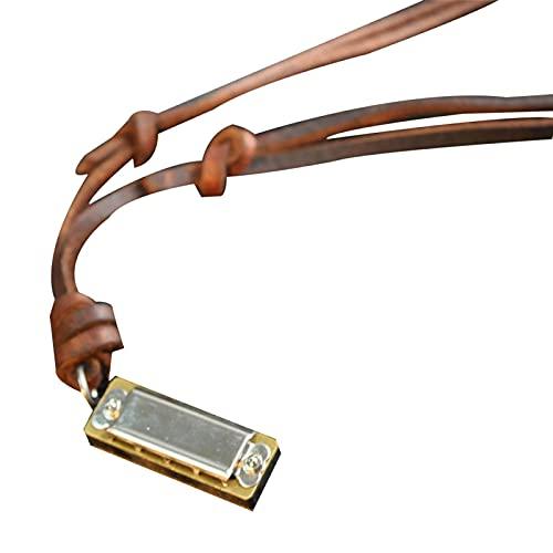 Funight Mini collier en cuir synthétique avec pendentif en forme d'harmonica et de bouche Marron