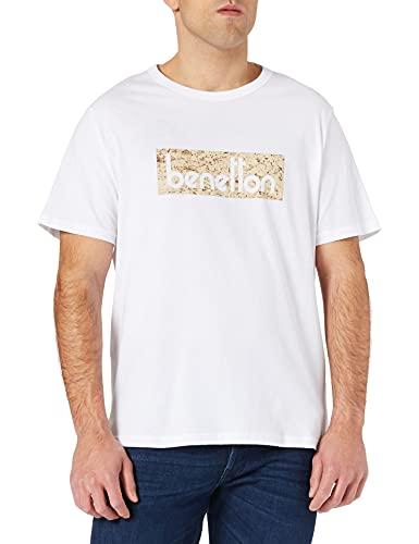 United Colors of Benetton (Z6ERJ T-Shirt 3096J17H6 Suéter, Bianco Stampa Logo Multicolore 913, M para Hombre
