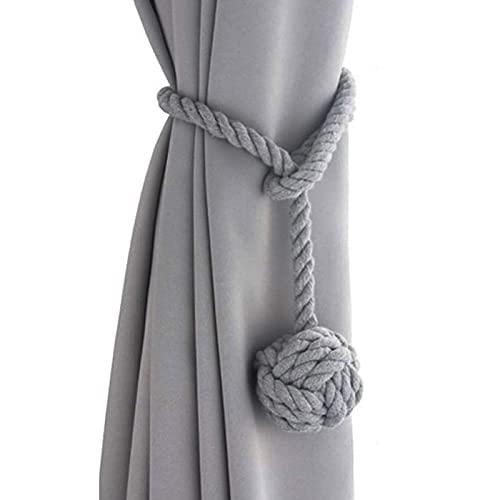 inodiref 2 alzapaños de cuerda de cortina, hecha a mano, cuerda de algodón, alzapaños de cortina de tejer a mano con una sola bola, para decoración de soporte de cortina de ventana de oficina (gris)