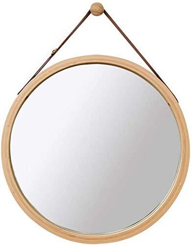 Spegel - Justerbart läderband Bambu ram Väggmontering Runt badrumsmakeup Förstoringsglas Bambu