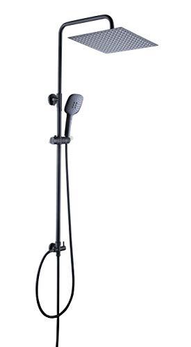 JOHO 304 Edelstahl Duschset Duschsystem Regenduschset Duschstange mit Kopfbrause 30x30cm Matt schwarz