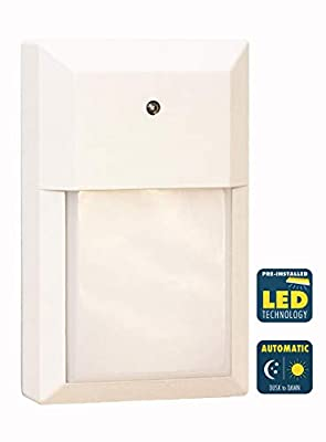 CORAMDEO Commercial and Residential Outdoor LED Wall Pack Light, Dusk-to-Dawn Photocell, Wet Location, Built in LED Gives 100W of Light from 12W of Power, White Cast Aluminum with White PC Lens