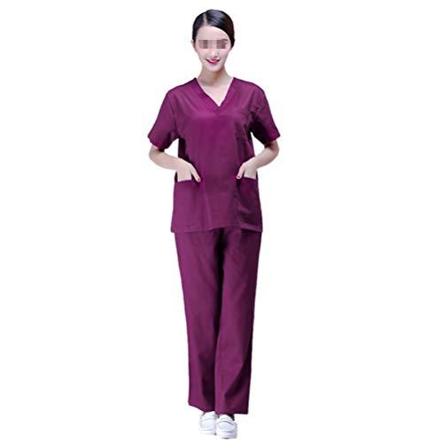 PRETYZOOM Scrub Pak Set Verpleegkundige Scrub Top en Pant Hospital Uniforms Twee Stukken Doctor Verpleegkundige Werkkleding Verpleging V Hals Pak (Maat S) M Paars