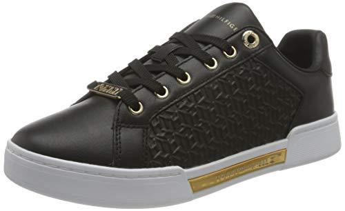 Tommy Hilfiger Damen Th Monogram Elevated Sneaker, Schwarz, 39 EU