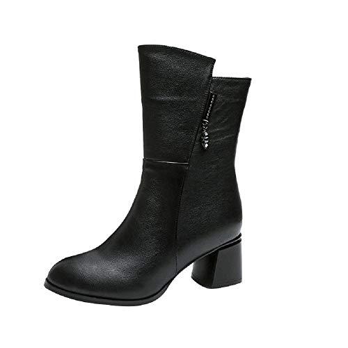 ROVNKD✿ charme alla moda da donna, caldo lavoro a traforo, tacchi invernali, zip corta, peluche, scarpe interne, Nero (Nero ), 36 EU