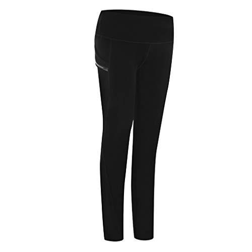 Hosen Damen einfarbige Taschen hohe Taille Hüfte elastische Stretch Leggings Laufen Fitness Yoga (S,Schwarz)
