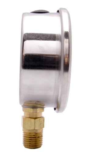 "DuraChoice 2-1/2"" Oil Filled Pressure Gauge - Stainless Steel Case, Brass, 1/4"" NPT, Lower Mount Connection 0-100PSI"